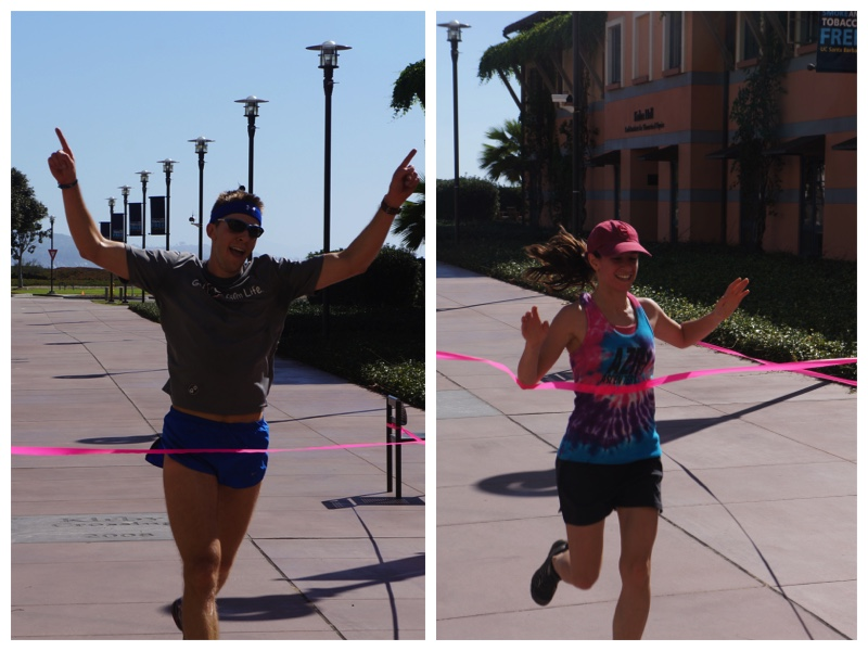 Winners of the run crossing the finish line.